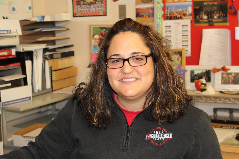 Adrianne Hardin works at her desk. Hardin remains hopeful for the   State Leadership Conference.