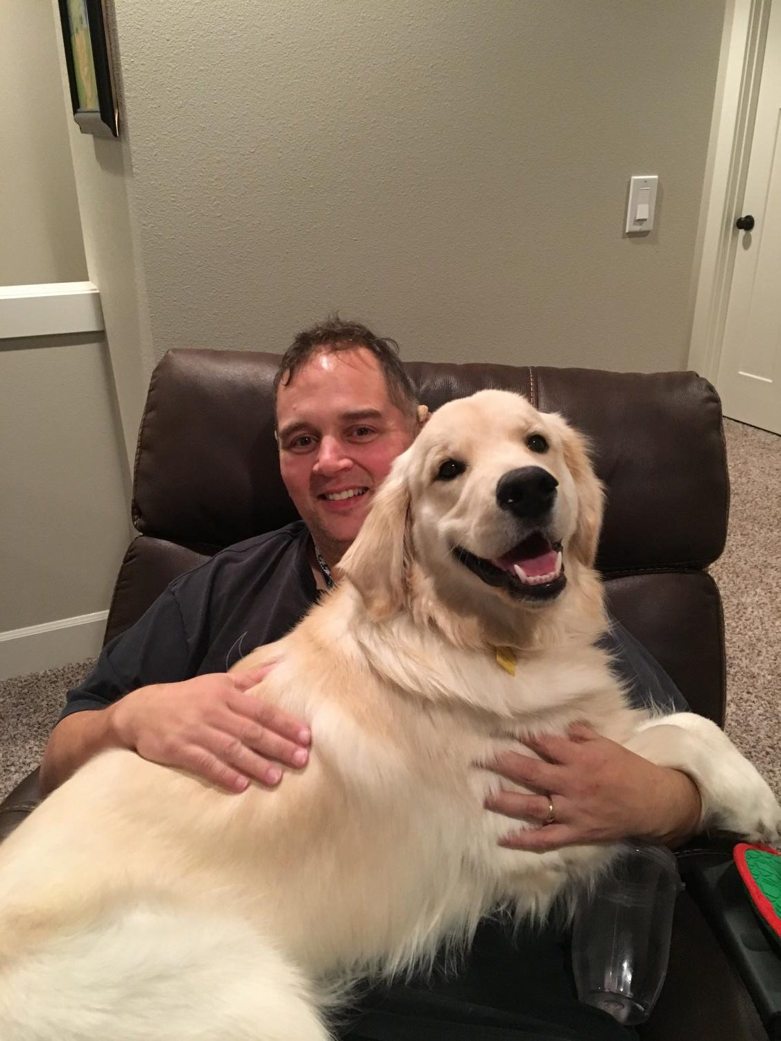Teacher Rob Havrilla thinks his puppy, Timber, is a lap dog! Timber is the offspring of teacher and coach Justin Rosenblad's dogs. Rosenblad passed last spring after a long battle with cancer.