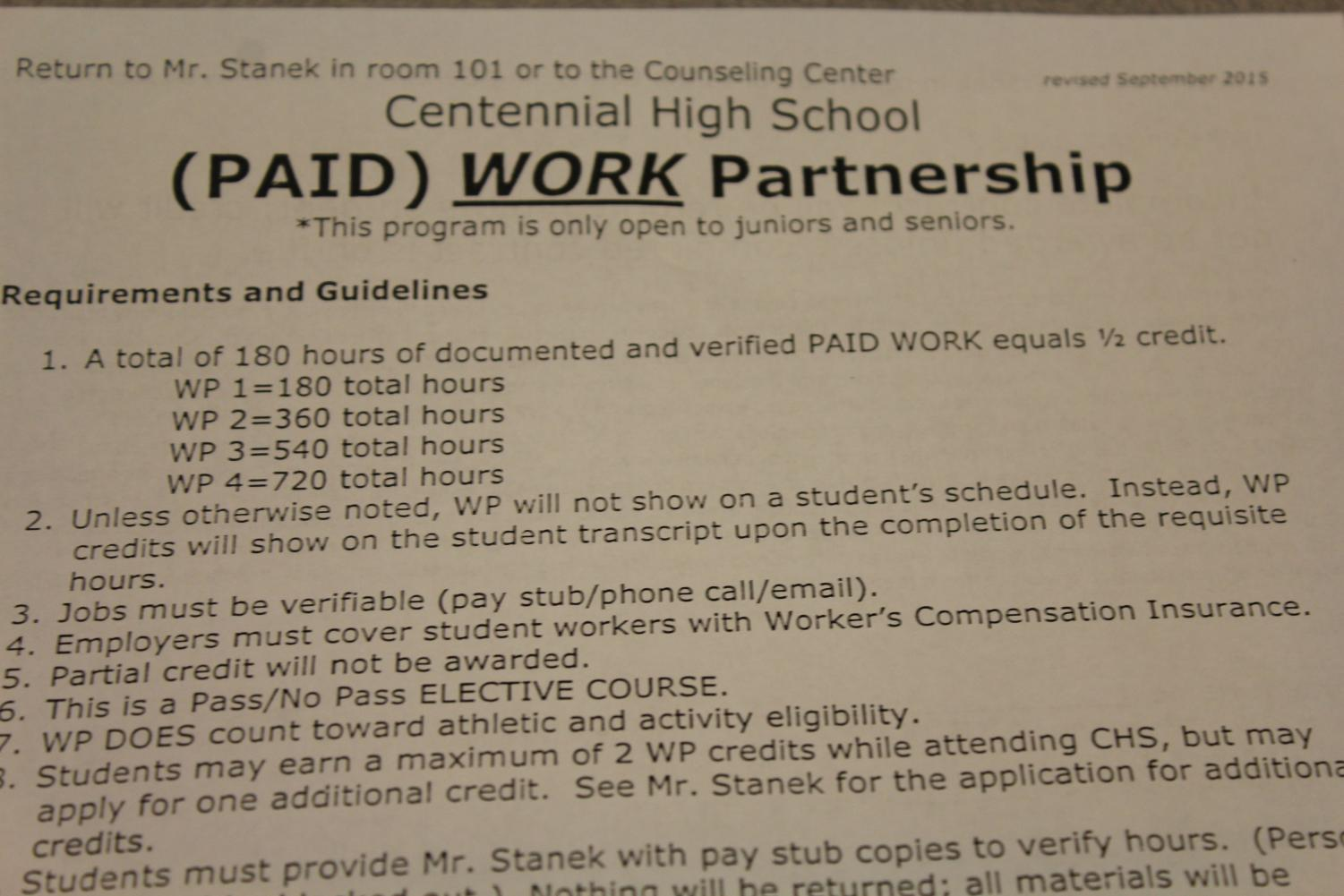 Students can earn elective credits through paid or non-paid work. See Jeff Stanek in Room 101 for forms or more information.