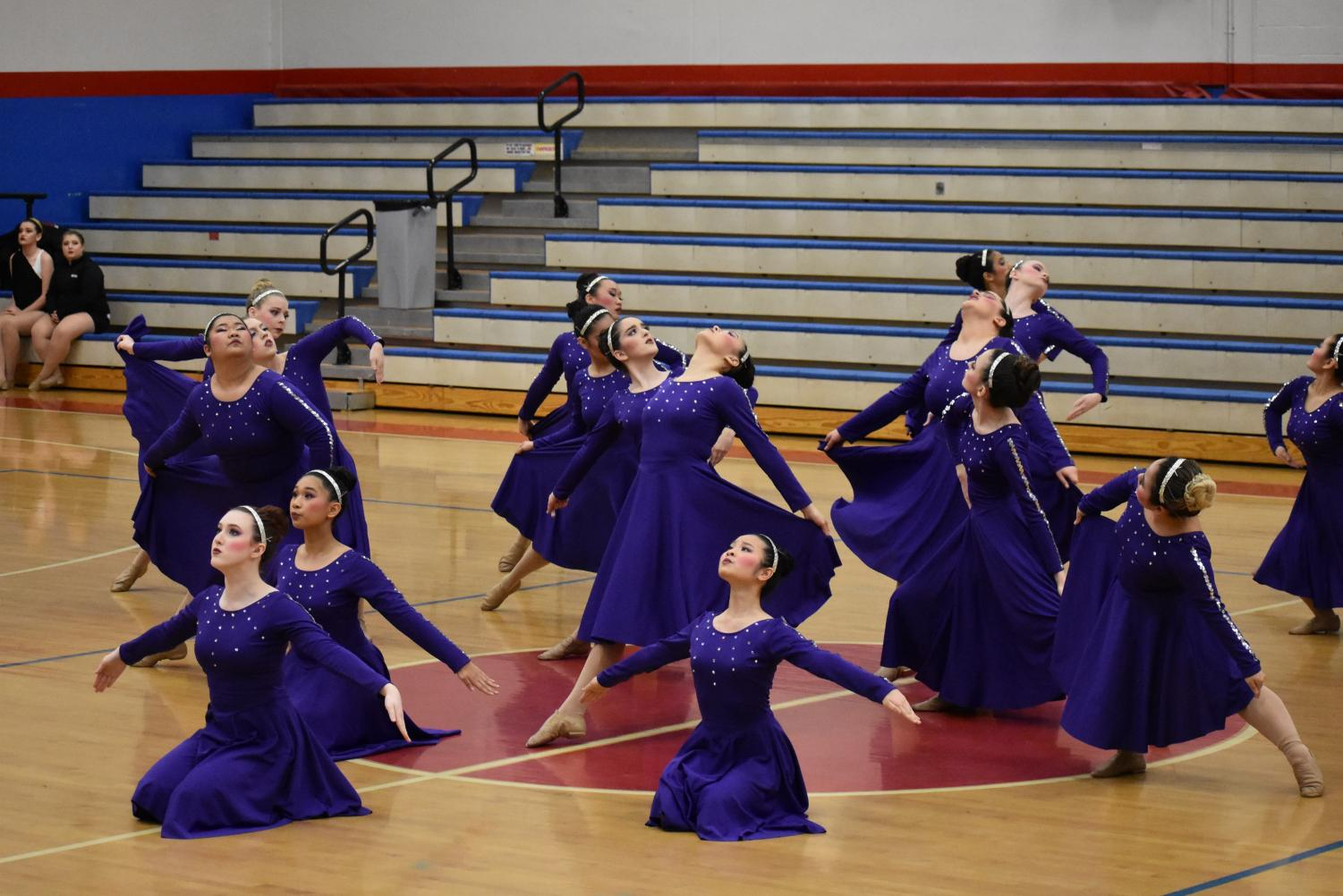 The HI-C's doing their routine at the Metro dance competition. Many dance team members placed in exhibition.
