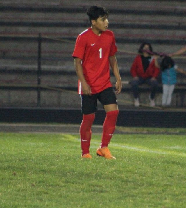 Cesar Gomez, number 1, makes his way to his team. The team plays tomorrow at Sandy.