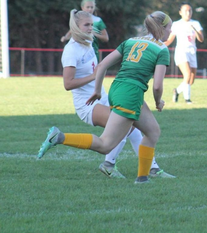 Chloe Smith (number 2) runs in for the ball. Girls soccer tackles Silverton Monday, away at 7.