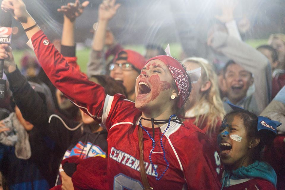 Students celebrate an Eagle victory after the homecoming game on Friday September 27th.