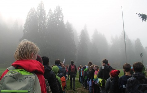 Students gather early in the morning for Outdoor School.
