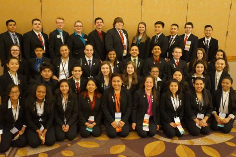 FBLA members smile for the camera.