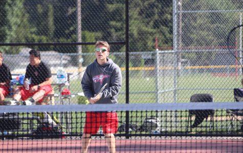 Luke Pierik plays at the district tournament.