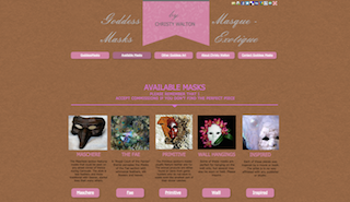 Screenshot of Goddessmasks.com, where masks are available for purchase.