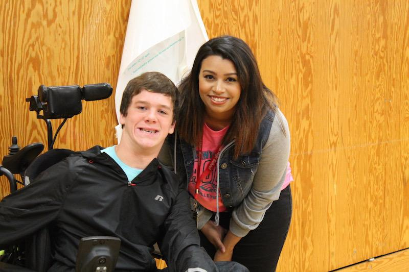 Alyssa hall with student Matt Vachter.