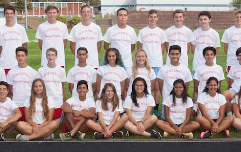 The boys and girls cross country team picture.