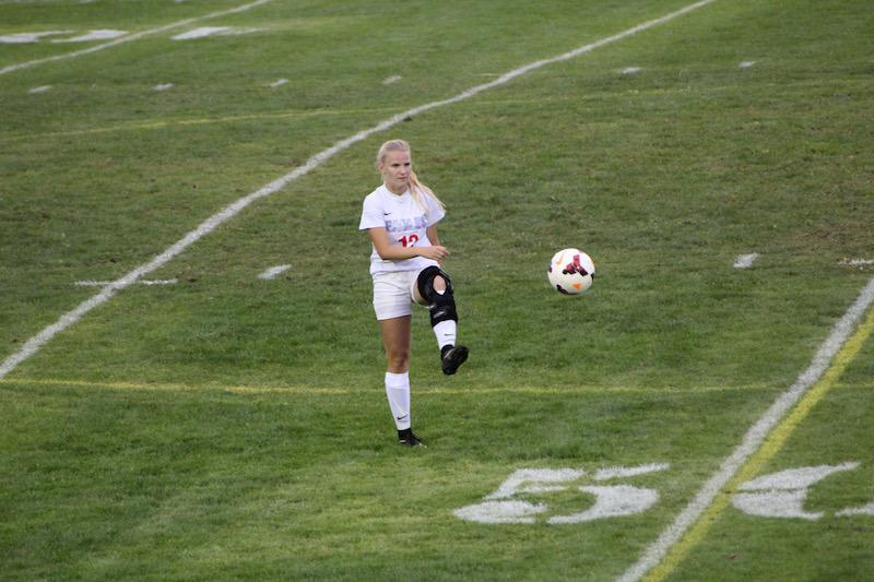 Rebecca Wheeler warms up before the game.