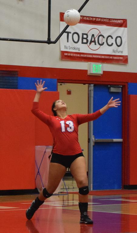 Senior Nicole Castaneda serves the ball during a home game.