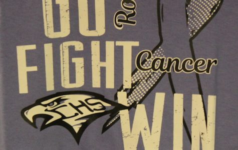 Nearly $570 was raised for teacher Justin Rosenblad's fight against stomach cancer through the sale of specialized T shirts in honor of the coach and senior night .