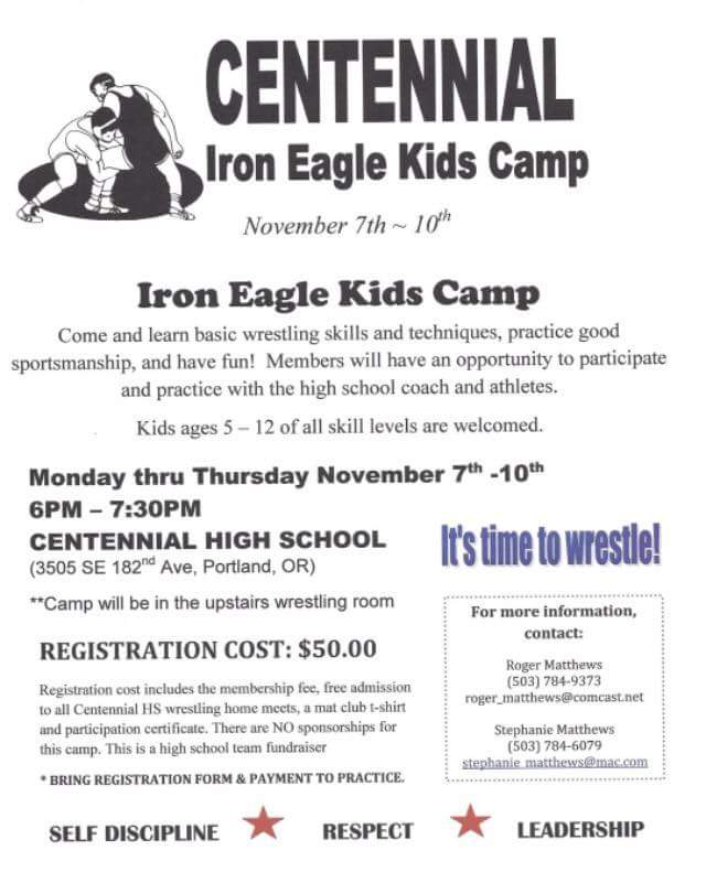 Iron Eagle Kids Camp poster.