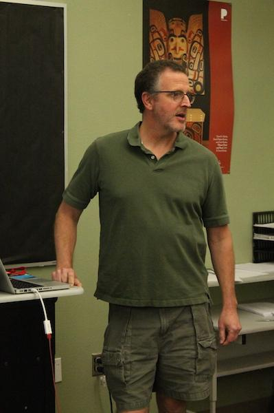 English teacher Doug Paul gives instructions his his AP Language and Composition class.