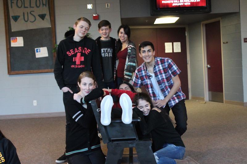 Kaden Moss, Lukas Hurley, Briahna Stout, Christoper Mendez, Lindsey DeMars, Jacquline Urza, and Ashley Navarro film the last scene of the production Selfie.