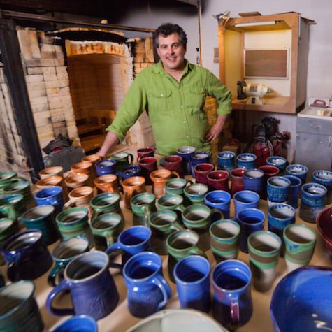 Art Teacher Michael Grubar shows some of his pottery work.  Grubar sells some of his work and has a show March 24 at his studio in SE Portland.