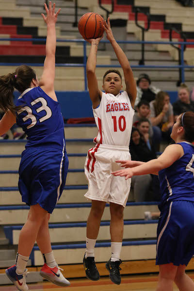 Senior Giana Loville takes a jumper in a home loss to Gresham last month.