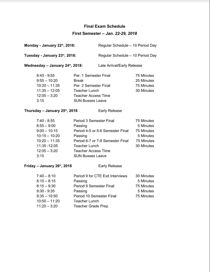 Semester 1 Finals Start Jan. 24