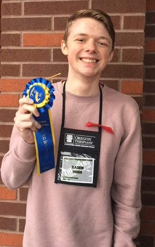 Kaden Moss wins award at state in Solo Acting.  Many other members of the drama department were also recognized at the state Thespian conference.