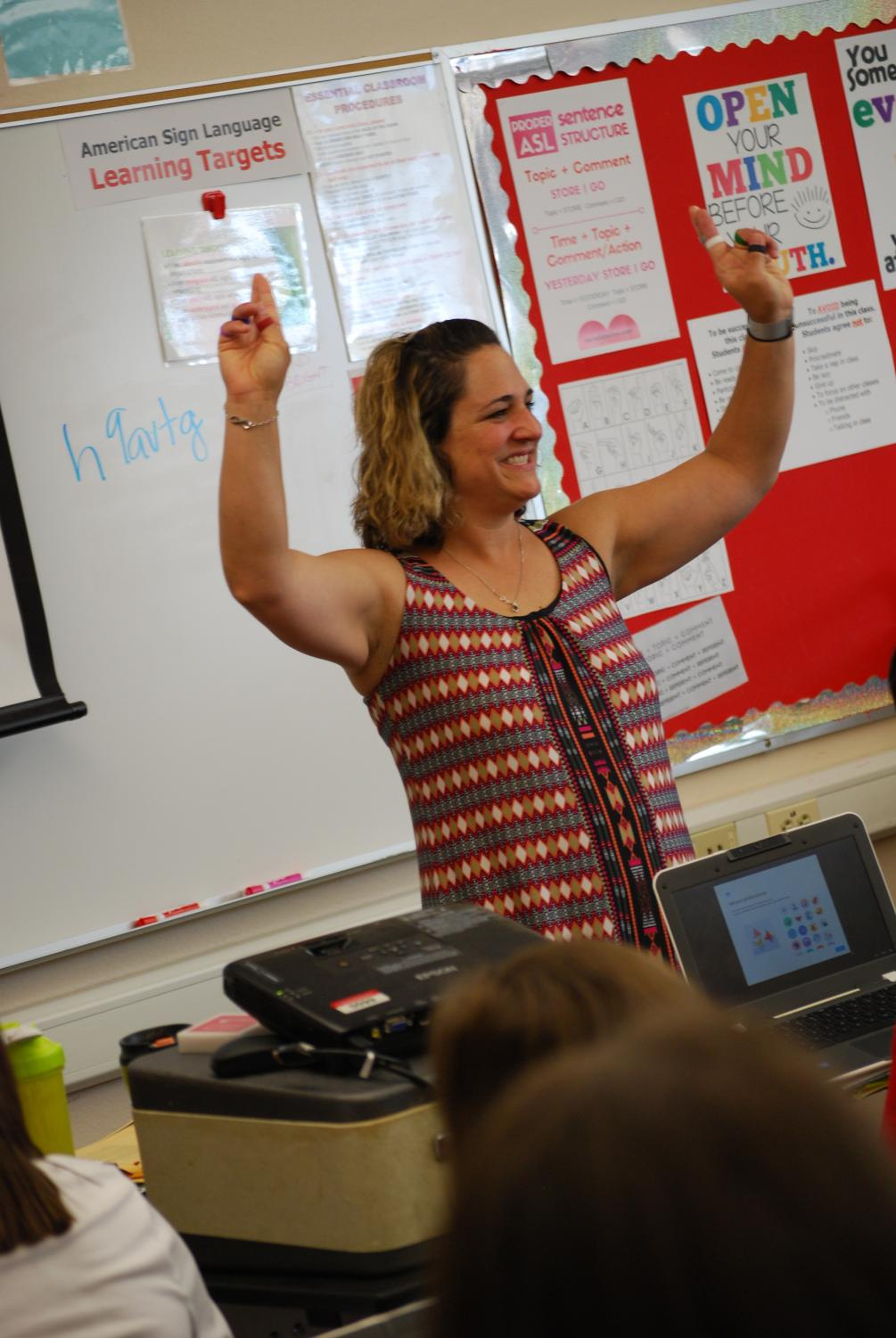 Adriann Hardin teaches her sign language class.  The new course was recently added this year.