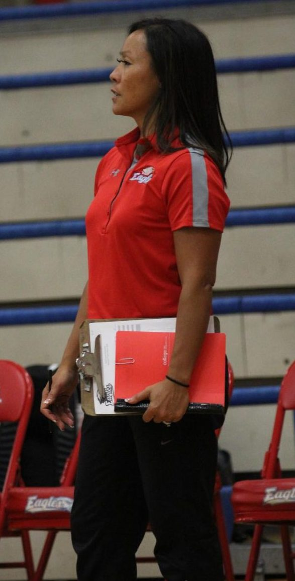 Kristy Ree coaches the girls volleyball team. The girls volleyball team takes on Reynolds tonight.