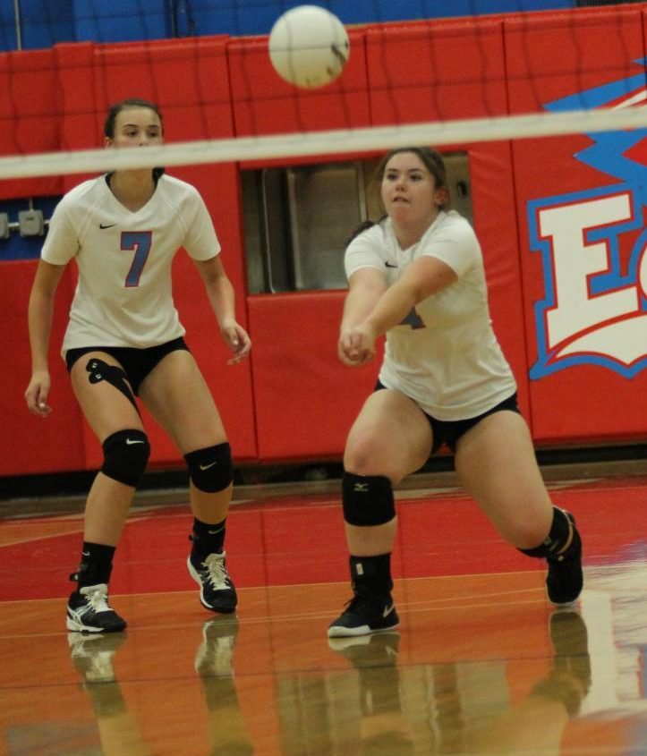Bailey Becker serves the ball to the other side of the court. The Eagles play Reynolds tonight at 6:15 at home.