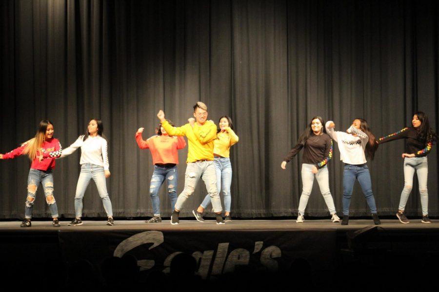 AKM (Mercy B, Dim, Cing M, Aryana M, Alexis P, Dylan P, Natalie R, Mirna Z) perform a K-Pop routine.