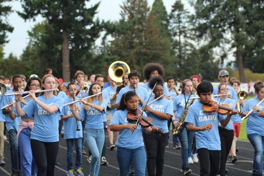 CHS band performs at homecoming parade.