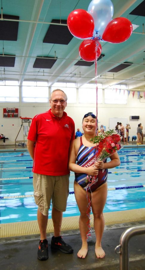 Coach Rod Lundgren and swimmer Amy Hua.