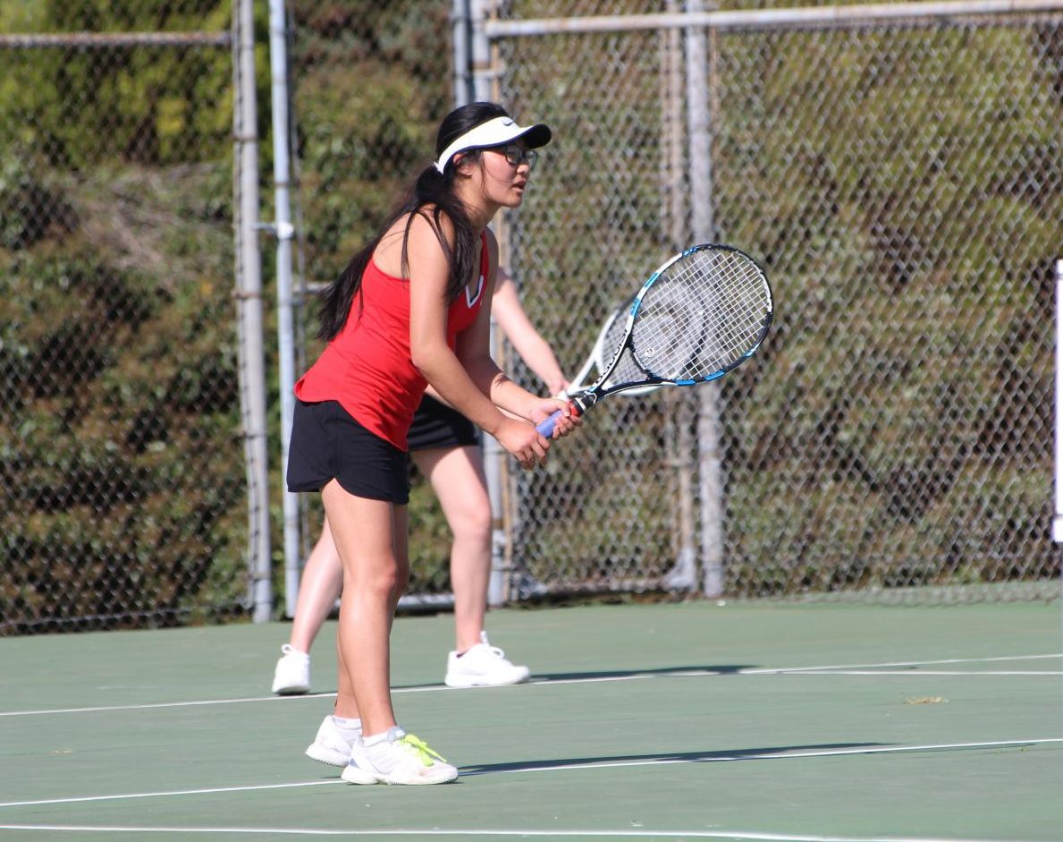 Louise Kim plays in a match last year.