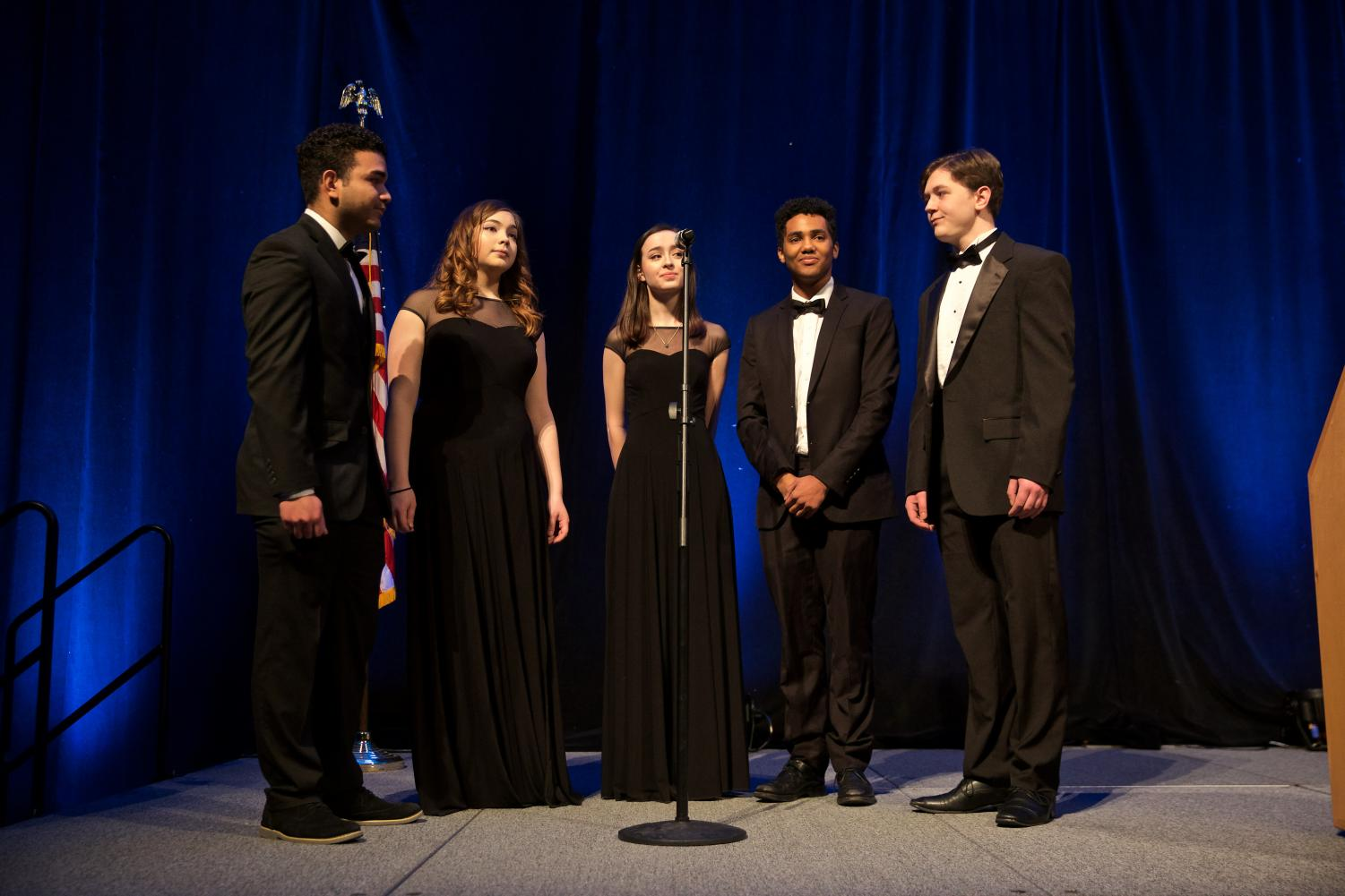 Gino Colon, Chaela Oscar, Natalie Sato, Trenton Ruffin, and Lukas Hurley sing at the GOSH Conference.