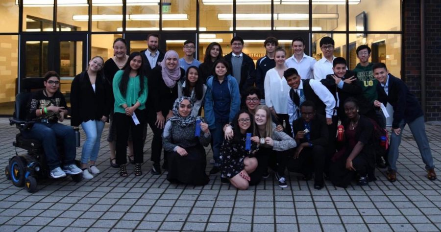 Speech Team celebrates at Sandy High School at their Sandy Invitational.