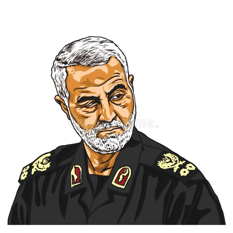 General Qasem Soleimani Cartoon Caricature Portrait Vector Illustration Drawing