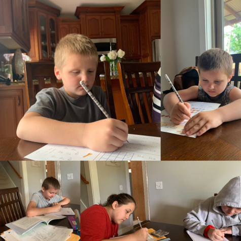 Along with trying to keep up with her own class work, freshman Nadia Petryuk is responsible for keeping her younger siblings on task and helping with many household chores such as cleaning and food preparation.  Shown in the gallery from left to right: Daniel,  Emma (red), Naomi, Ben, and Tim.